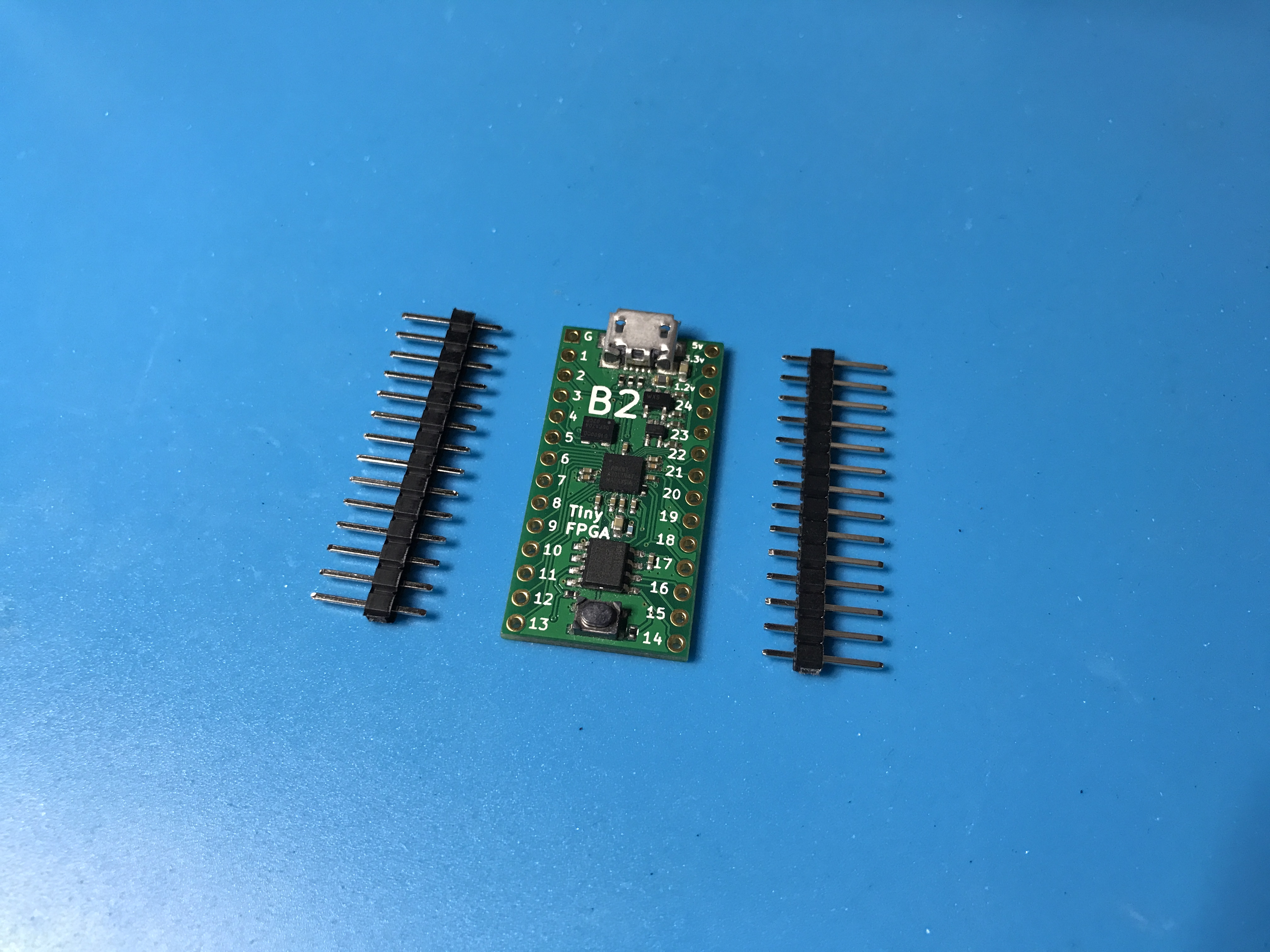 TinyFPGA B2 next to pins
